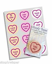 12 Love Hearts Cupcake Decoration Edible Cake Toppers Valentines  pre cut