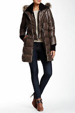 BCBG FAUX FUR TRIM DOWN JACKET TAUPE WOMENS SIZE MEDIUM NEW WITH TAGS $300
