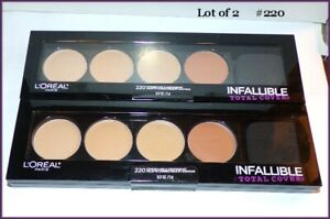 NEW & SEALED Lot of 2 L'Oreal Infallable Total Cover Concealer Quad Palette #220