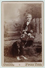 SUPER Cute Cabinet Photo - Boy with Dog Posed Studio ca 1880 - Penn Yan NY