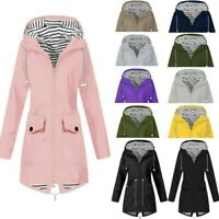 Womens Lady Rain Jacket Outdoor Plus Size Waterproof Hooded Windproof Loose Coat