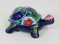 Blue Hand Painted Ceramic Turtle Keepsake Jewelry Box Trinket Holder Mexico