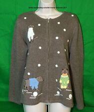 Liz Claiborne Crazy Horse Brown Button Front Dogs Sweater Size Medium