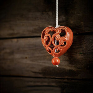Keramik Herz für Fenster/Tür Dekoration | Orange | Aufhängen | Geschenkidee