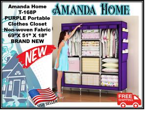 "Amanda Home PURPLE Portable  Clothes Closet  Non-Woven Fabric 69""X 43"" X 18"" NEW"