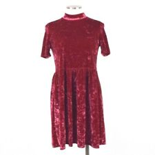 Entro Crushed Scarlet Red Velvet Mini Shift Dress Tunic Top Short Sleeve Women S