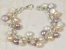 Multicolor White Pink Purple Genuine Pearl White Gold Plated Link Clasp Bracelet