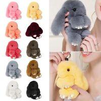 Rex Rabbit Fur Cute Bunny Pom Ball Doll Keychain Cute Handbag Pendant Decor #one