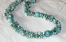 "JAY KING Blue Chunky Round & Chip Nugget BeadS 31"" Necklace NWT! MOP Cat's Eye"