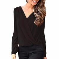 New Fashion Women Loose Casual Wrap Long Sleeve Chiffon Blouse Lace Tops Shirt
