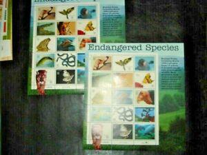 2 US 1996 sheets Sc#3105: ENDANGERED SPECIES,2 FULL PANE SHEET OF 15, MNH