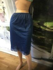 Vintage Half Slip With Lace Trims Blue Size S