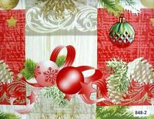 Nappe Marchandise au Mètre en Toile Cirée Lavable Noël Boules de Rouge