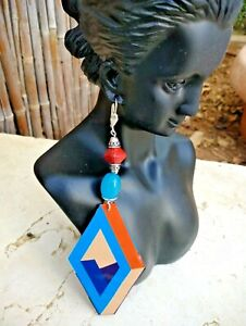SARITOOSH Upcycled Sterling Earrings 3D Rhombus tin beaded blue cream red