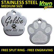 Stainless Steel Paw Puppy Dog Cat Pet ID Tag Personalised Engraved Medium 27mm