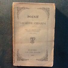 Libro antico, 1874 POESIE DI GIUSEPPE CHIARINI STORIE CANTI TRADUZIONI DI HEINE