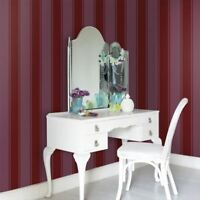 SOPHIE CONRAN PALAIS STRIPE FLOCK WALLPAPER SCARLET 900601 FEATURE WALL NEW