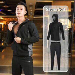 Sauna Suit Men Zipper Hoodies Gym Clothing Weight Loss Running Fitness Sports