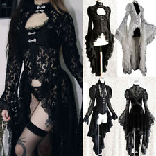 Women Lace Medieval Cosplay Dress Gothic Irregular Vintage Dress Halloween Coat