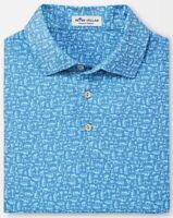 NWT Peter Millar Polo Golf Shirt Crown Sport Martini Print Lake Blue Size Medium