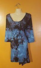 NWT Women's Plus Size Blue Ink Splatter Tie Dye Shirt Top Layer Tunic Hippie