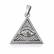 925 Sterling Silver Eye God Horus Egypt Pyramid Giza Illuminati Charm Pendant