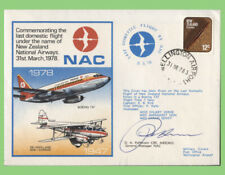 New Zealand 1978 NAC, Last Domestic Flight, flown & signed ( Gen. Manager)cover