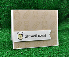 Lawn Fawn clear acrylic stamps & matching die- GET WELL SOON