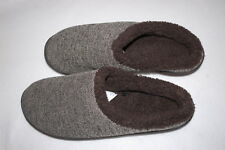 Mens Slippers TWO TONE BROWN LOW BACK SCUFFS Sherpa Lined, Rubber Sole M 9-10