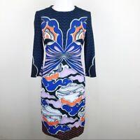 MARY KATRAUTZOU Oriental Floral Print Sheath Midi Cocktail Dress Size 4