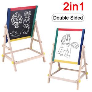 Kids Wooden 2 in 1 Blackboard & Whiteboard Childrens Easel Chalk Drawing BoardUK