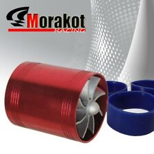 "2.5"" Auto Tornado Turbonator Intake Jdm Dual Fan Gas Fuel Saver Supercharger Red"
