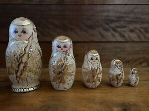 Vintage Traditional Russian Nesting Dolls Signed Ceprueb Nocag 1993 Set Of 5