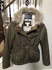H&M Size 2 Pile Lined Parka Olive Coat Jacket Hooded removable faux fur trim