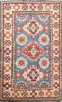 Geometric Super Kazak Oriental Area Rug Vegetable Dye Handmade Wool 2x3 Carpet