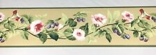 Wallpaper Border Berry Fruit Pink Glory Floral Flower Vine Tan Textured York