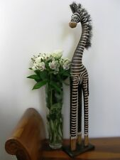 WOODEN ZEBRA ORNANMENT 80CM - HAND CARVED AND HAND PAINTED