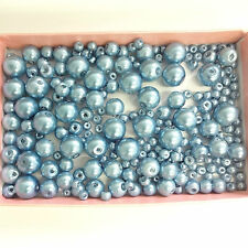 200 Assorted Sizes 4mm 6mm 8mm 10mm Glass Pearl Beads Sky Blue