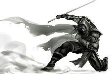 Enmarcado impresión Ninja/Samurai Con Espada (Japón Japonés Luchador Cartel de imágenes)