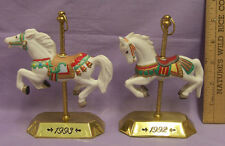 Hallmark Carousel Horses Decorated for Christmas Tobin Fraley 1992-93 Lot of 2