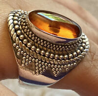"Bali Baltic Amber ""BA"" 925 Sterling Silver Suarti Designer Fine Gem Ring Size 9"
