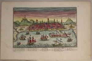 ALGIERS ALGERIA 1720 AVELINE UNUSUAL ANTIQUE ORIGINAL COPPER ENGRAVED CITY VIEW