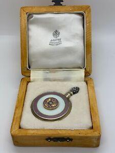Russian Faberge Guild Silver Diamonds Pearl White Pink Enamel Perfume Bottle