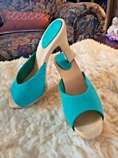 New listing Vtg Candies Italy 8/39 Green leather upper composite High Heels Mules open toe !