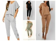 Ladies V Neck Boxy Short Sleeve Tracksuits 2 Pcs Womens Pants Loungewear Suits