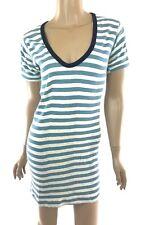 Edith A Miller New Size L Cotton Sheath Dress Short Sleeves Blue & White Stripes
