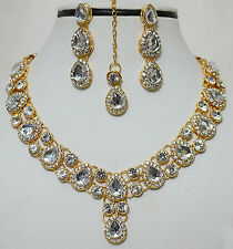 Indian Bollywood Gold Plated Bridal Stone Costume Necklace Earring Jewellery Set