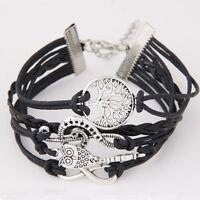 Vintage Leather Owl Music Note Life Tree Charm Infinity Punk Statement Bracelet