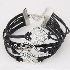 Vintage Leather Owl Music Note Life Tree Charm Infinity Punk Statement Bracelet