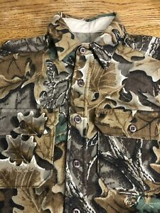 Vintage Woolrich Wool Green Brown Leaves Woodland Camo Hunting Shirt Mens M